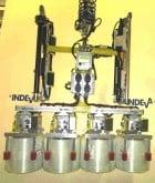 handling four glass fiber reels at a time