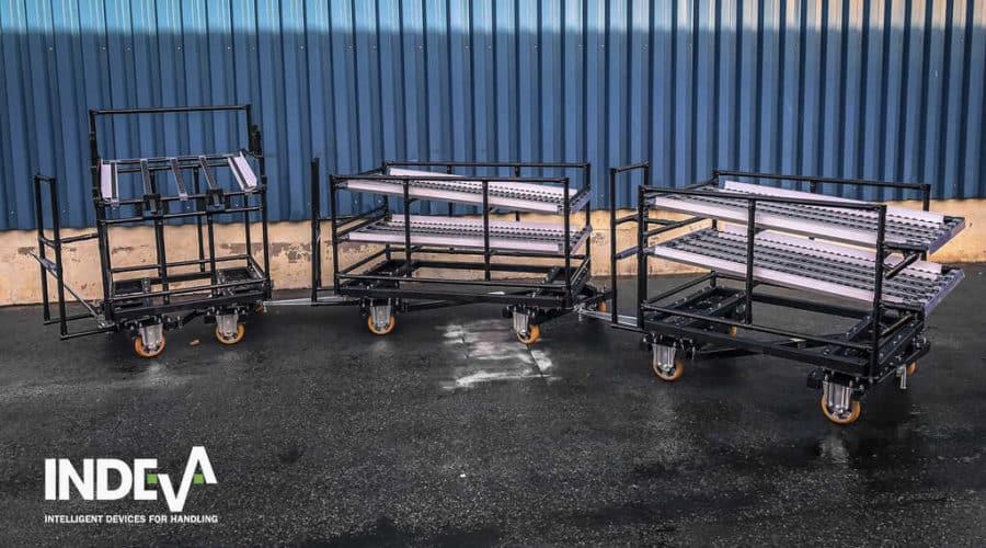 Модульные буксирные тележки INDEVA Lean System® подходят для буксировки транспортным средством с автоматическим управлением (AGV).