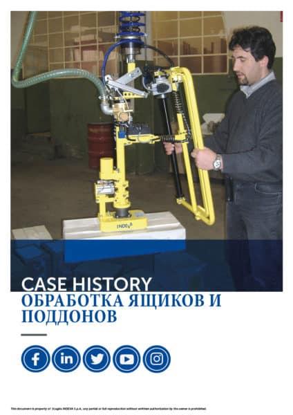 Истории успеха INDEVA: обработка ящиков и поддонов с помощью манипуляторов для повышения эргономики и безопасности в компании.