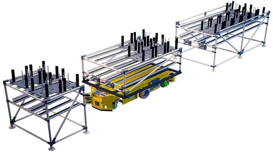Тележки-шутеры, изготовленные с помощью системы INDEVA Lean System, позволяют перевозить тяжелые грузы и перемещать их из одной тележки в другую или из одной стационарной конструкции в тележку с помощью эффективной гравитационной раздвижной системы.